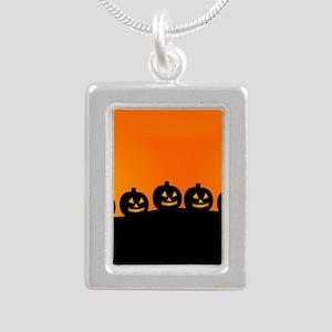 Spooky Halloween Pumpkin Silver Portrait Necklace