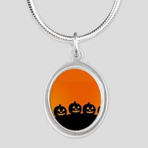 Spooky Halloween Pumpkins Silver Oval Necklace