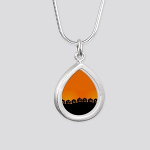 Spooky Halloween Pumpkin Silver Teardrop Necklace