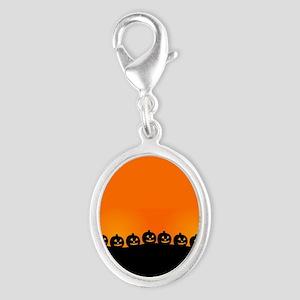 Spooky Halloween Pumpkins Silver Oval Charm