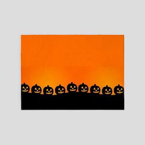 Spooky Halloween Pumpkins 5'x7'Area Rug