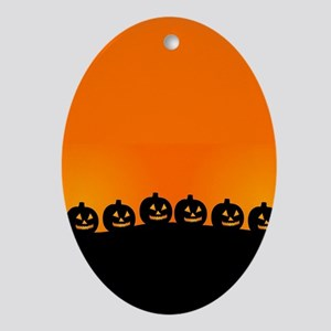 Spooky Halloween Pumpkins Oval Ornament