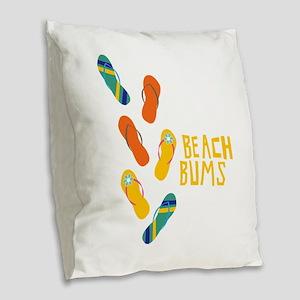 Beach Bums Burlap Throw Pillow