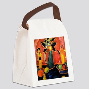Japanese Flower Canvas Lunch Bag