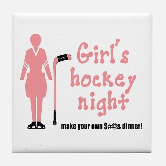 Girls' Hockey Night Tile Coaster