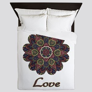Blue Red and Green Flower with Love Queen Duvet