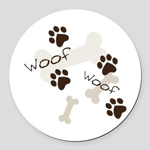 Woof Woof Round Car Magnet
