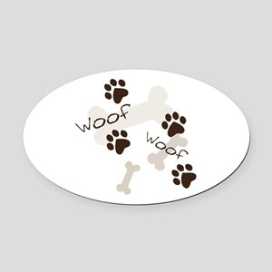 Woof Woof Oval Car Magnet