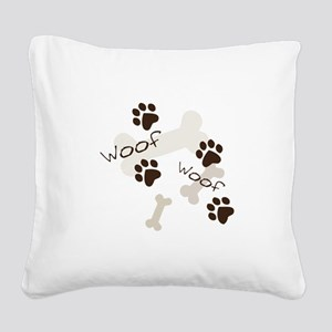 Woof Woof Square Canvas Pillow