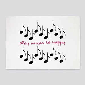 Play Music Be Happy 5'x7'Area Rug