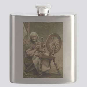 Old Woman With Spinning Wheel Flask