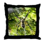 Garden Spider Awaits sq Throw Pillow