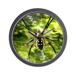 Garden Spider Awaits sq Wall Clock