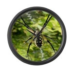 Garden Spider Awaits sq Large Wall Clock