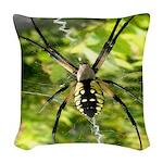 Garden Spider Awaits sq Woven Throw Pillow
