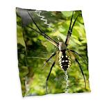 Garden Spider Awaits sq Burlap Throw Pillow