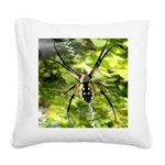 Garden Spider Awaits sq Square Canvas Pillow