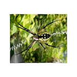 Garden Spider Awaits sq Throw Blanket