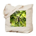 Garden Spider Awaits sq Tote Bag
