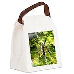 Garden Spider Awaits sq Canvas Lunch Bag