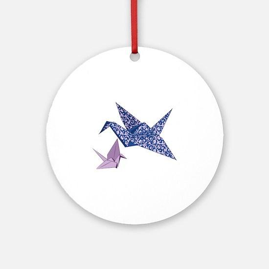 Origami Crane Ornament (Round)