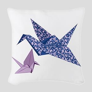 Origami Crane Woven Throw Pillow