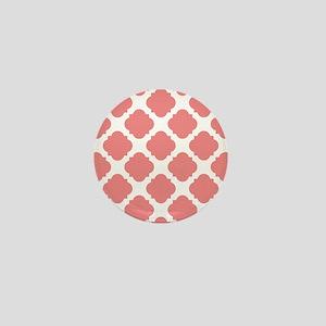 Chic Coral and White Quatrefoil Mini Button