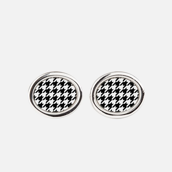 Houndstooth Black and White Classic Pattern Oval C