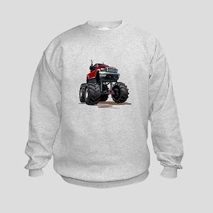 Red Monster Truck Kids Sweatshirt