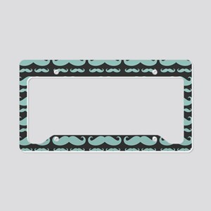 Mustache Mint on Grey Pattern License Plate Holder