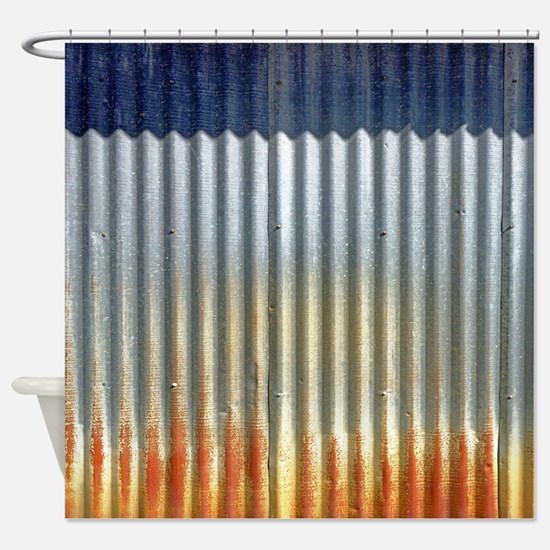 Rusty Tin Distressed Metal Shower Curtain