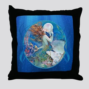 Clive Pearl Mermaid Right Throw Pillow