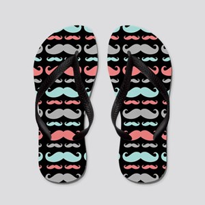 Funny Girly Colorful Patterns Mustaches Flip Flops