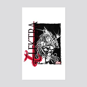 Elektra Black & White Sticker (Rectangle)