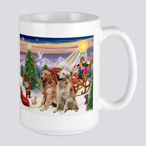 Santa's Treats for his Two Goldens Large Mug