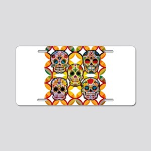 Sugar Skulls Aluminum License Plate