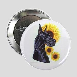 Black Gt Dane w/ Sunflower Button