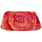 Red Orange Rose Watercolor Bathmat