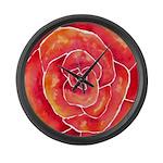 Red Orange Rose Watercolor Large Wall Clock