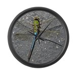 Dragonfly on Pavement Large Wall Clock