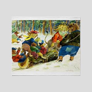 Christmas Yule Log in Animal Land Throw Blanket
