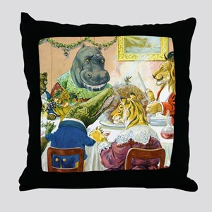Christmas Party in Animal Land Throw Pillow