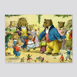 Christmas Party in Animal Land 5'x7'Area Rug