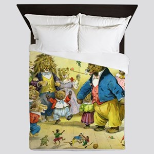 Christmas Party in Animal Land Queen Duvet