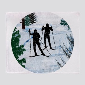 Two Cross Country Skiers in Snow Squ Throw Blanket