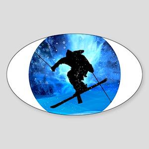 Winter Landscape and Freestyle Skier Sticker