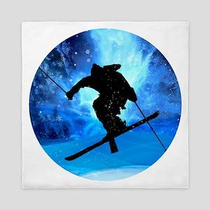 Winter Landscape and Freestyle Skier Queen Duvet