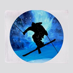 Winter Landscape and Freestyle Skier Throw Blanket