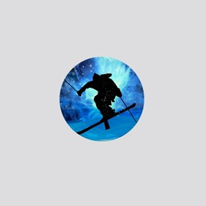 Winter Landscape and Freestyle Skier Mini Button