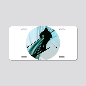 Downhill Skiing on the Icy Aluminum License Plate